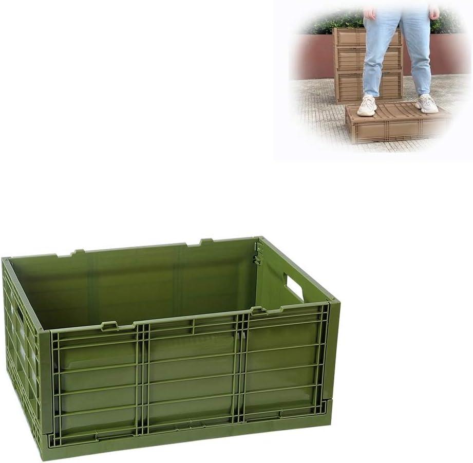 Qbylyf Caja Cajas Cesta Cesto Plastico Plegable de Almacenamiento, 45L Bins - Durable De Plástico Plegable Utilidad Cajas De Pared Sólida Apilable Contenedores En Casa Y Organización del Garaje: Amazon.es: Hogar