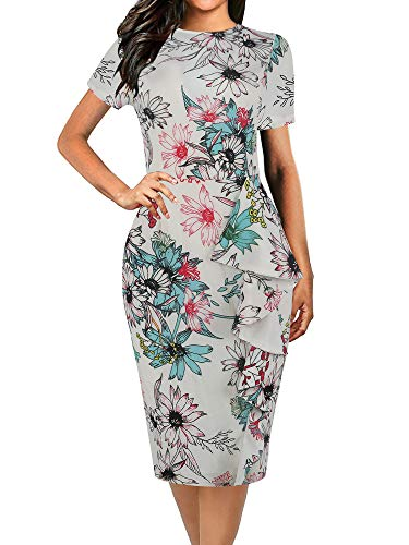oxiuly Women's Vintage Polka Dot Floral Patchwork Stretchy Work Casual Bodycon Sheath Pencil Dress OX055 (XXL, White Floral)