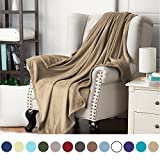 Bedsure Flannel Fleece Luxury Blanket Camel Queen Size Lightweight Cozy Plush Microfiber Solid Blanket