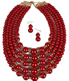 Shineland Elegant Multilayers Faux Pearl Bead Cluster Collar Bib Choker Necklace and Earrings Set (Red)