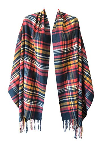 Women Oversized Scottish Clan Tartan Plaid Cashmere Feel Shawl Wrap Winter Scarf (Navy Blue/Yellow/Pink Plaid)