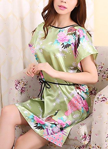 Pigiama Corto Camicie Pavone Eleganti Fiore Donna Corta Manica Stampato Estivo Eleganti Vestito Rotondo Collo Moda Notte Da Verde RqaxdanUS