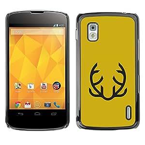 MobileHut / LG Google Nexus 4 E960 / Yellow Abstract Moustache Mustard / Delgado Negro Plástico caso cubierta Shell Armor Funda Case Cover
