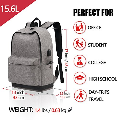 Backpack, Travel Water Resistant School Backpack with USB Charging Port for Women Men, Canvas College Student Bag Bookbag Fits 15.6 Inch Laptop and Notebook, Grey Rucksack Daypack for Outdoor Camping by Vancropak (Image #3)