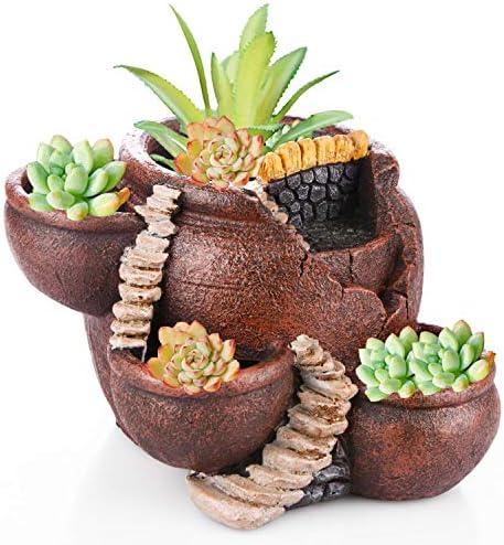 MOOBOM 植木鉢 樹脂製品 多肉 植物 鉢植え 陶器みたい見た目 古風いっぱい 可愛さもいっぱい 部屋/店/庭/棚 いろんな所で大活躍