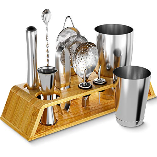 12-Piece Silver Cocktail Shaker Set with Bamboo Stand, Weighted 18 & 28oz Boston Shakers and Bar Tools Set Using Premium…