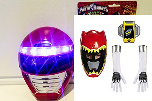 [POWER RANGERS MASK and Glove Set - Unique Kids Dress Up Role Play Cosplay Costume Set Pretend Play Red Power Ranger Dino Mask Universal Size Light Up LED Mask,Glove Set,Belt Buckle for] (Power Rangers Masks)