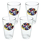 Solar System Planets Space Earth Saturn Jupiter Mars Novelty 16oz Pint Drinking Glass Tempered - Set of 4