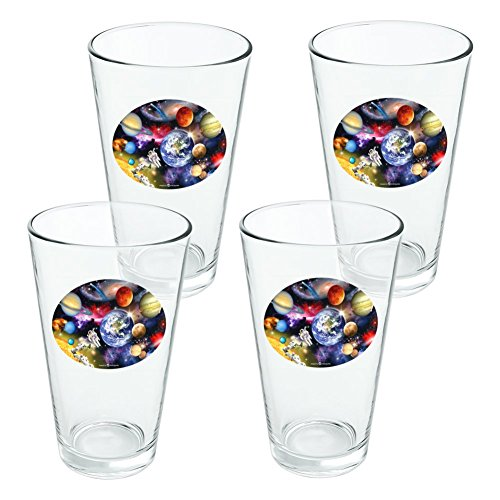 Solar System Planets Space Earth Saturn Jupiter Mars Novelty 16oz Pint Drinking Glass Tempered - Set of 4 by Graphics and More