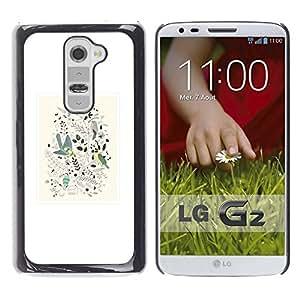 """Pulsar Snap-on Series Teléfono Carcasa Funda Case Caso para LG G2 , Diseño floral de primavera blanca minimalistas Birds"""""""