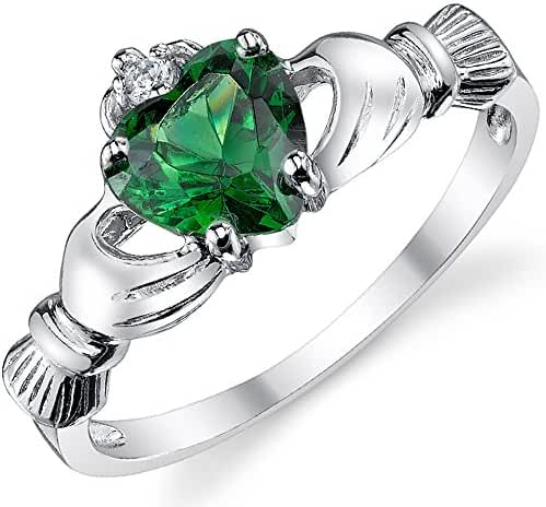 Sterling Silver 925 Irish Claddagh Friendship & Love Ring with Simulated Emerald Green Color Heart Cubic Zirconia
