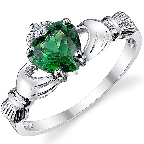 Sterling Silver 925 Irish Claddagh Friendship & Love Ring with Simulated Emerald Green Color Heart Cubic Zirconia 6 (Irish Heart Ring compare prices)