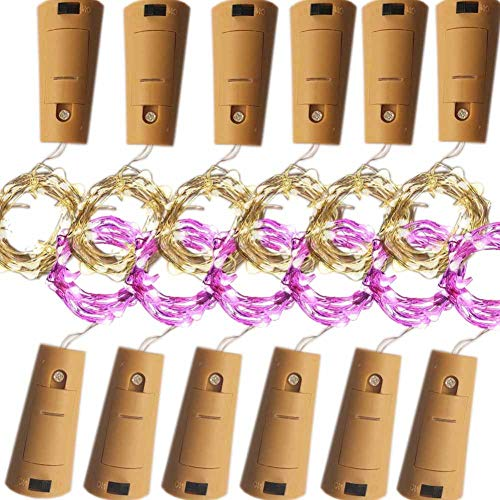 Bottle Lights With Cork,Battery Powered 20 LED 2M Twist String Coper DIY Light Kit For Glass Wine Beer Liquor Empty Bottles,Club,Party,Kitchen Home Fairy Decorative Spark Warm&Color Changing 12PACK - Cork Twist