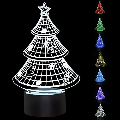 3D Illusion Night Light, HOSYO Christmas Tree 3D 7 Color Changing Lamp Touch Dimming Desk Table Led Light Perfect Gift and Home (Halloween Optical Illusions)