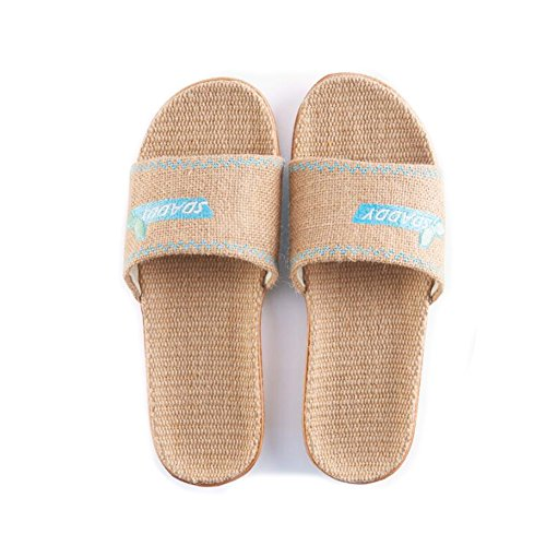 women Sweat Slippers Slippers Home Odor and Women Summer Linen Beach Flax Proof Men Floor Indoor TELLW Bedroom blue Couples Slippers Home Linen Suction Slippers qPwS1x6tB