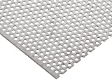304 Stainless Steel Perforated Sheet, Unpolished (Mill) Finish, Annealed, Staggered 0.1875'' Holes, 0.036'' Thickness, 20 Gauge, 12'' Width, 12'' Length, 0.25'' Center to Center