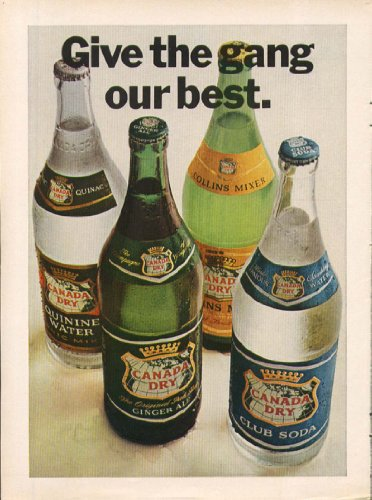 """Canada Dry soda """"Give the gang our best."""" ad 1966 from The Jumping Frog"""
