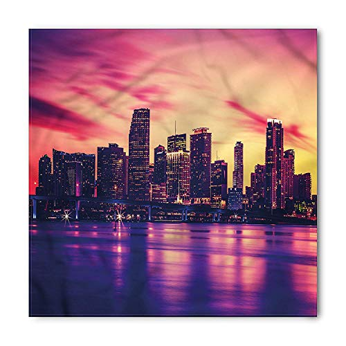 United States Bandana, View of Miami Sunset, Unisex Head and Neck Tie