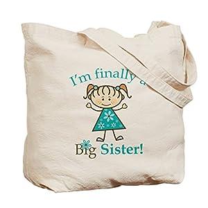 CafePress Big Sister Finally Natural Canvas Tote Bag, Reusable Shopping Bag