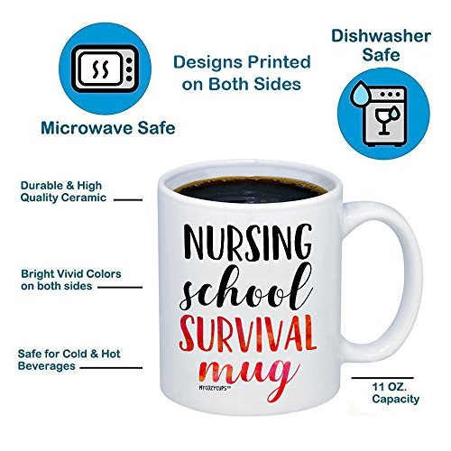 MyCozyCups Nursing Student Gifts - Nursing School Survival Mug - Funny Registered Nurse Assistant, Practitioner, RN, 11oz Coffee Cup For Women, Best Friend, Daughter, Mom, Wife - Graduation Present by MyCozyCups (Image #5)