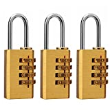 Eilin Solid Brass Lock- 4 Metal & Steel Digit Combination Lock for Gym, Sports, School & Employee Locker, Outdoor, Fence, Hasp and Storage (3 Pack)