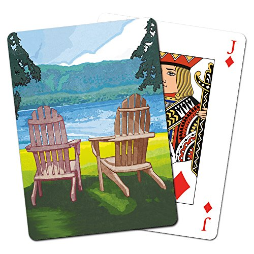 Price comparison product image Tree-Free Greetings Deck of Playing Cards, 2.5 x 0.8 x 3.5 Inches, Adirondack Chairs  (CD15094)