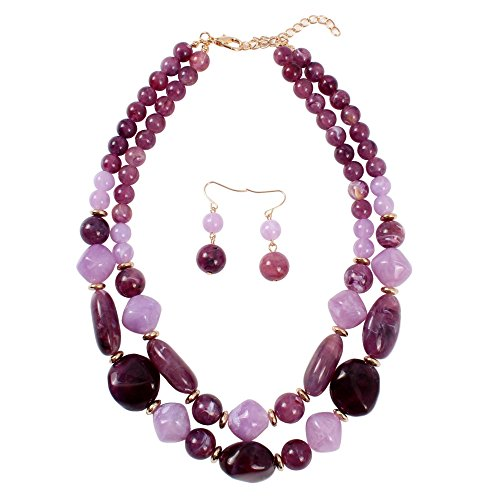 KOSMOS-LI Statement Chunky Resin Purple Beaded Fashion Strand Necklaces for Women Gifts (Beaded Purple Jewelry Set)