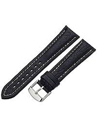 Hadley-Roma Men's MSM886RA-220 22mm Black Genuine Shrunken Leather WatchStrap
