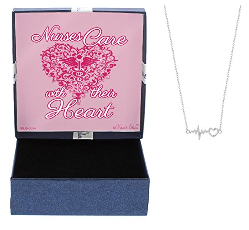 Mother's Day Gifts Nurse Graduation Gifts Care with their Heart Necklace Silver-Tone Heart and EKG ECG Test Pendant Necklace Jewelry Box Gift Jewelry for Nurse RN Nurse Jewelry Mom Nurse Mom Gift (Gift Basket Ideas For Nurses)