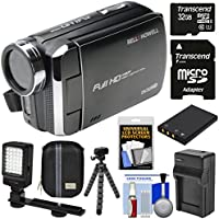 Bell & Howell DV30HD 1080p HD Video Camera Camcorder (Black) with 32GB Card + Battery & Charger + Case + Tripod + Video Light Kit