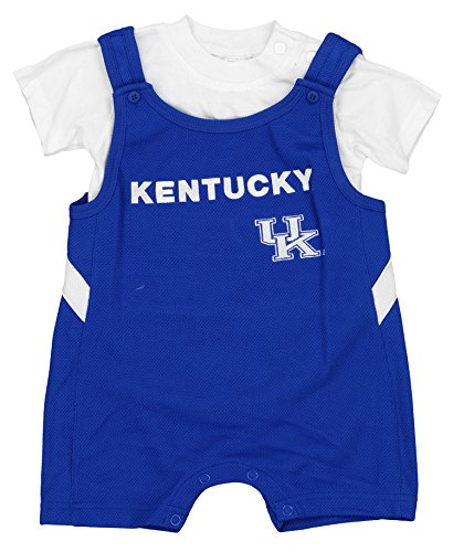 Embroidered Shortalls (Kentucky Wildcats NCAA Baby Boys Infant Short-All & Creeper Set, Blue & White)