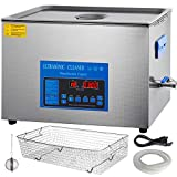 Mophorn 28/40khz Dual Frequency Ultrasonic Cleaner 304 Stainless Steel Digital Lab Ultrasonic Cleaners with Heater Timer for Jewelry Watch Glasses Circuit Board Small Parts Dental Instrument (30L)
