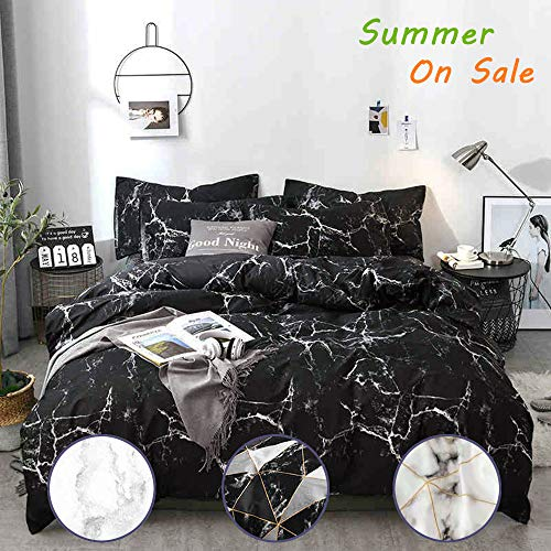 Jumeey Black Marble Bedding Set Twin Boys Black and White Abstract Texture Duvet Cover Set with Zipper Ties 1 Duvet Cover 2 Pillowcases Luxury Quality Soft Comfortable Easy Care,No ()