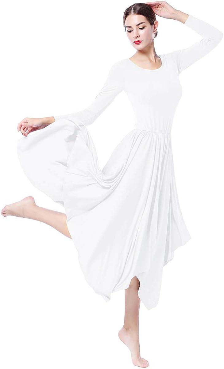 ZX Women Long Sleeve Lyrical Dance Dress Worship Praise Liturgical Dancewear Ballet Ballroom Dance Costume