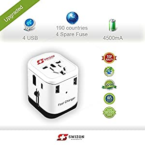 International Power Universal Travel Adapter Fast Charger 4-ports USB 4.5A / Quick 3.0 Type C - Worldwide All-In-One Plug Built-in Fuse AC For Rapid Charging Cell Phone Laptop - SWIZON Best Gift Kit