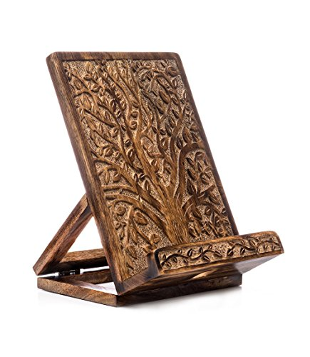 - Hand-Carved Wood Cookbook Stand Compatible for iPad/Tablet Dock
