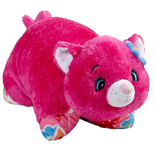 Pillow Pets Jumboz Pink Cat Floor Pillow - Flower Power Cat Jumbo Stuffed Animal Plush Toy