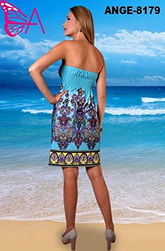 Mujer Angela Sujetador Bandeu Tubo Largo Rodilla Verano, Vestido Vacaciones, Estampado Tribal Turquesa