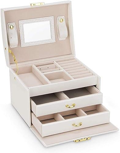 Caja Joyero Caja de Joyas, Cofres para joyas 3 Niveles Jewelry Organizer para Mujer , Organizador de Joyas para Anillos, Aretes, Pendientes, Pulseras y Collares(Blanco): Amazon.es: Joyería