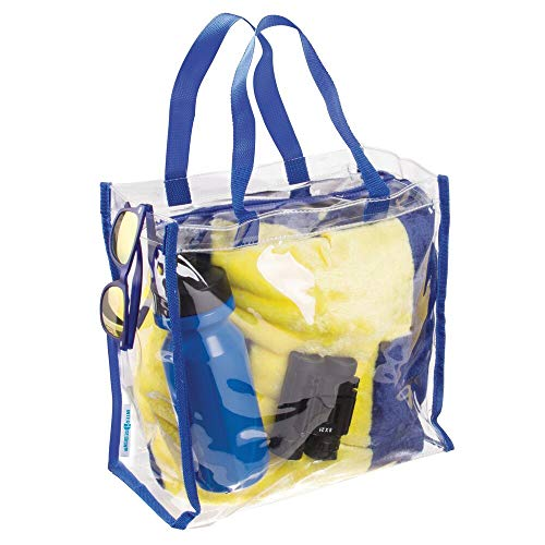 - mDesign Clear College Stadium Tote Bag Storage Holder Organizers with Zipper and Shoulder Straps - for Work, School, Sports Games, Beach, Travel - Clear/Navy