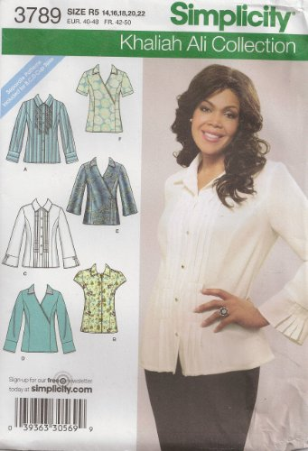 Simplicity Khaliah Ali Collection Pattern 3789. Misses Sizes 14;16;18;20;22 Shirts with Front & Sleeve Variations ()