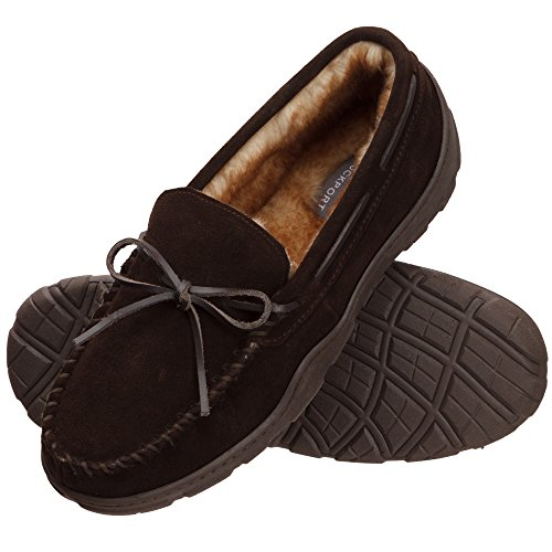 Music : Rockport Memory Foam Plush Lining Suede Slip On Moccasin Indoor/Outdoor Men's Slippers (Size 10 Slipper, Brown Moccasin)