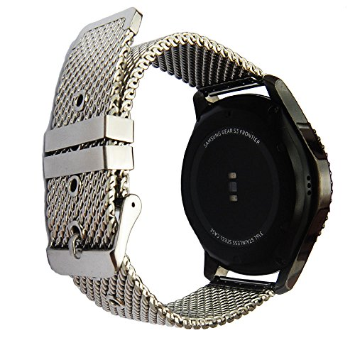 Hamilton Solid Wrist Watch - 22mm Stainless Steel Strap For Samsung Gear S3 Band Replacement Wristbands For Gear S3 Classic Frontier Smart Watch Band (Silver)