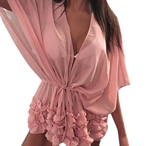 FNKDOR Bufanda de Pareo de las mujeres del traje de baño de la gasa playa  Cubrir envolver Rosa