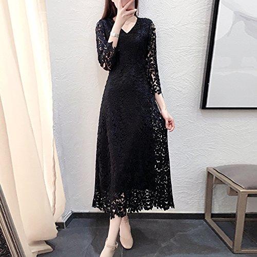 Vestido Larga Falda Una De L 2XL Larga V Primavera Encaje Negro En Vestido Palabra ZHUDJ Vestido Fina Mujer ZFfqwdqx