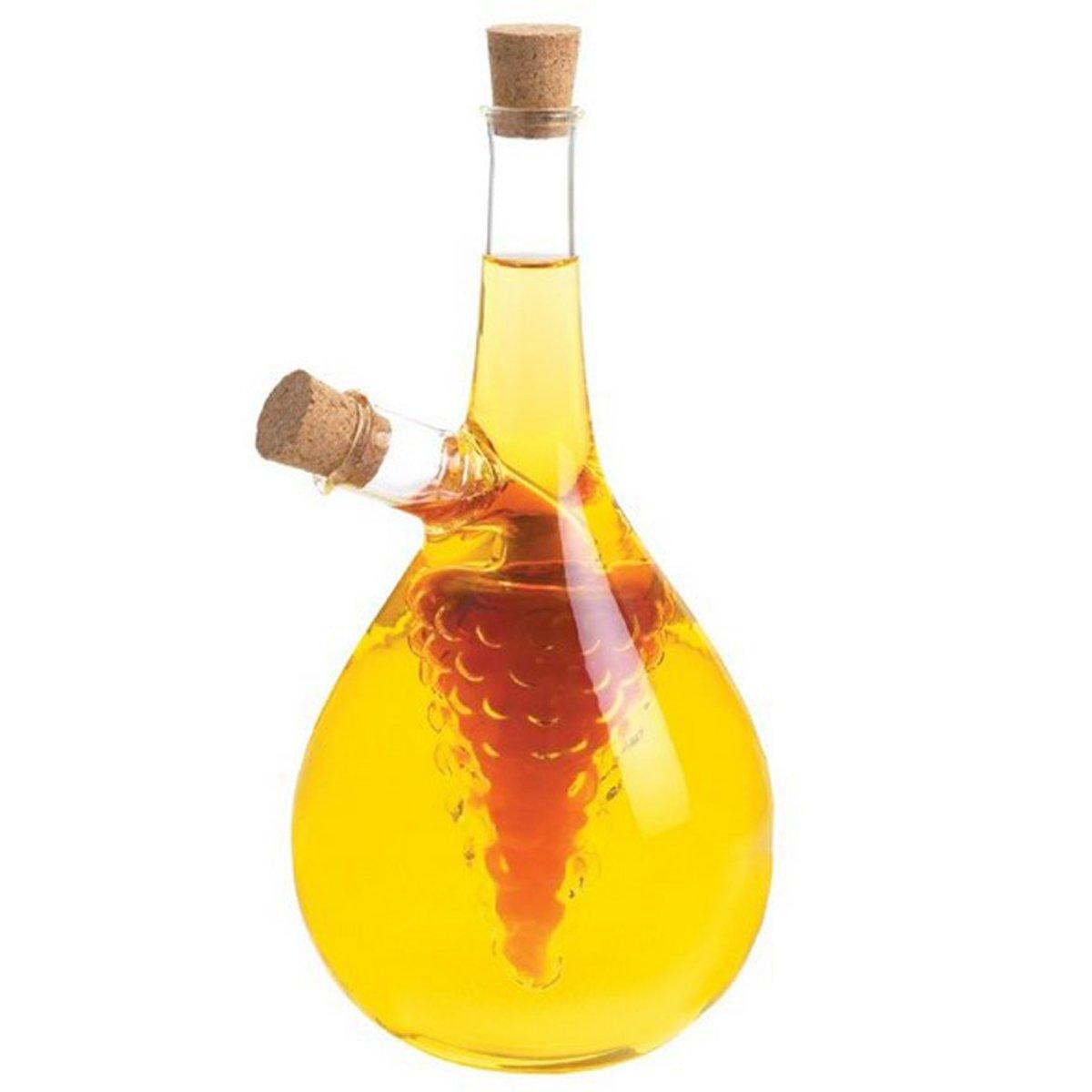 Eleton Kitchen Storage Cooking Tools Oil and Vinegar Bottle, Cruet 8'' With Grape Cluster
