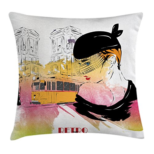 Ambesonne Fashion House Decor Throw Pillow Cushion Cover, Lady Posing in front of Tramway Sketch Retro Romance Aesthetics, Decorative Square Accent Pillow Case, 16 X 16 Inches, Yellow Purple Square Tramway