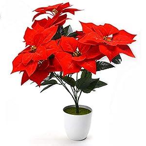 7 Heads Artificial Velvet Poinsettia Bush Flowers Red Christmas Floral Arrangement 81