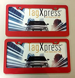 high quality material metal red license plate frame with 2 holes set of 2