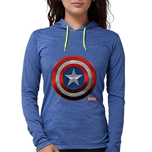 CafePress Captain America Icon Womens Hooded Shirt Heather Blue